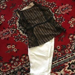 Loft Sleeveless Lace Top , White Jeans Kate & Sam
